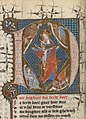 The Trinity (Mercy-Seat); the symbols of the four Evangelists - Die Dietsche Doctrinale - KB 76 E 5, folium 033v.jpg