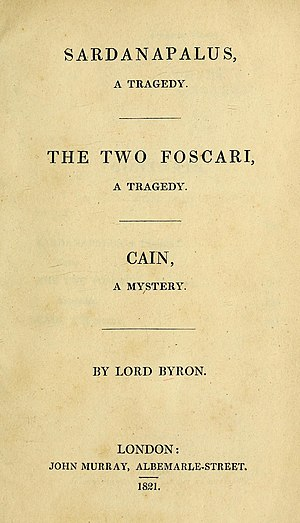 Cain (play) - First edition title page, 1821