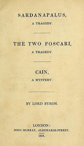 Sardanapalus (play) - Image: The Two Foscari, Sardanapalus, and Cain