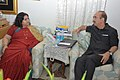 The Union Minister for Health and Family Welfare, Shri Ghulam Nabi Azad and the SAARC Goodwill Ambassador for HIVAIDS, Ms. Runa Laila discussed the issues on HIVAIDS, in New Delhi on August 02, 2013.jpg