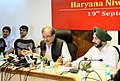 The Union Minister for Rural Development, Panchayati Raj, Drinking Water and Sanitation, Shri Chaudhary Birender Singh addressing a press conference, in Haryana on September 19, 2015.jpg