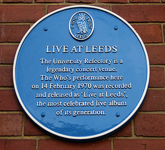 Leeds University Union - Blue plaque commemorating the recording of Live at Leeds by The Who