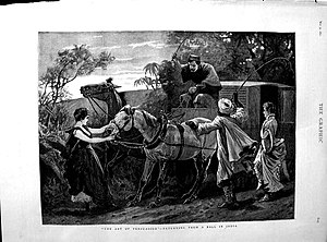 """Persuasion - The art of persuasion'--returning from a ball in India from """"The Graphic"""", 1890"""