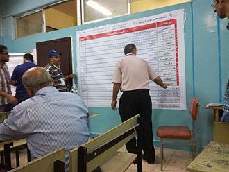 Elections in Jordan - The 2016 general election screening process in a Zarqa school.