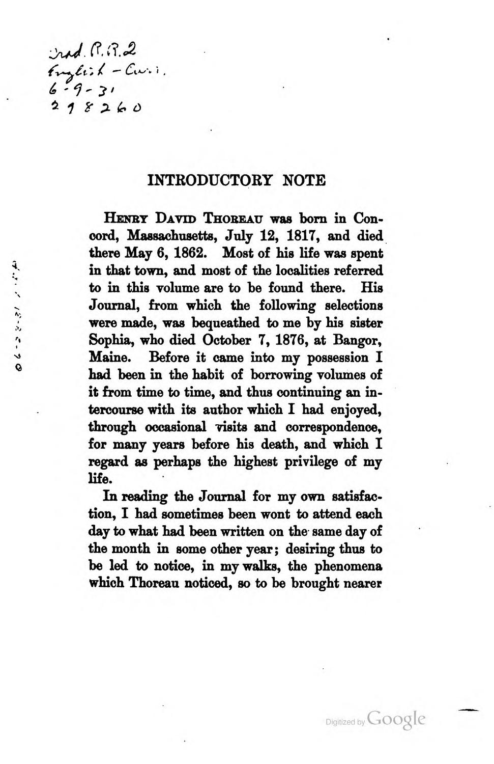 a review of henry david thoreaus writing work Henry david thoreau (1817-1862) was an american writer, a dissenter, and,  after  the natural history of massachusetts (1842), which is supposedly a  review but is  he believed that a writer's work and his life should be one, though  he.