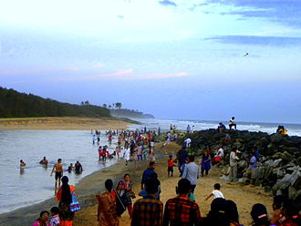 Estuary - A crowded estuary mouth in Paravur near the city of Kollam, India