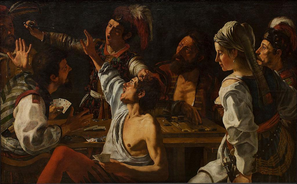 """Joueurs de cartes et de backgammons"" (1629) par Theodoor Rombouts."