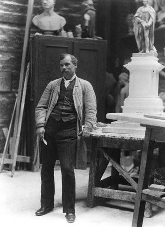 Thomas Brock - Thomas Brock in his studio, 1889.