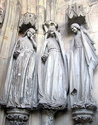 German art - Three Foolish Virgins, Magdeburg Cathedral, c. 1250.