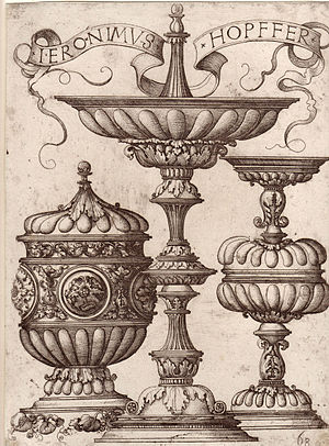 "Daniel Hopfer - Hieronymus Hopfer: Three ornate vessels, probably a model for goldsmiths. With the Funck number, lower right: ""68""."