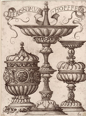 """Daniel Hopfer - Hieronymus Hopfer: Three ornate vessels, probably a model for goldsmiths. With the Funck number, lower right: """"68""""."""