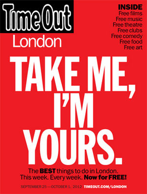 Time Out (magazine) - Image: Time Out London Magazine free publication launch cover