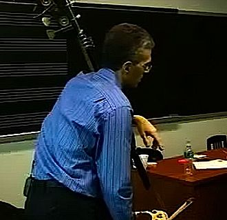 Music lesson - Manhattan School of Music professor Timothy Cobb teaching a bass lesson in the late 2000s