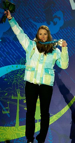 Alpine skier Tina Maze, a double Olympic gold medalist and the overall winner of the 2012-13 World Cup season Tina Maze with Olympic silver medal 2010.jpg