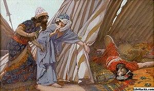 English: Jael Shows to Barak, Sisera Lying Dea...