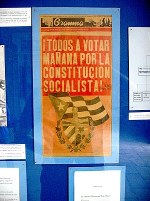 """Constitution of Cuba - Edition of Granma, February 14 1976, reading; """"Everybody to vote tomorrow for the socialist constitution"""". The constitution, close enough to the uniformity here predicted, passed with over 99 % in favor."""