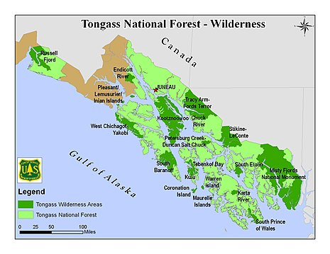 Forest Service map of the Tongass, with National Monuments and Wilderness Areas Tongass NF - map of wilderness areas.jpg