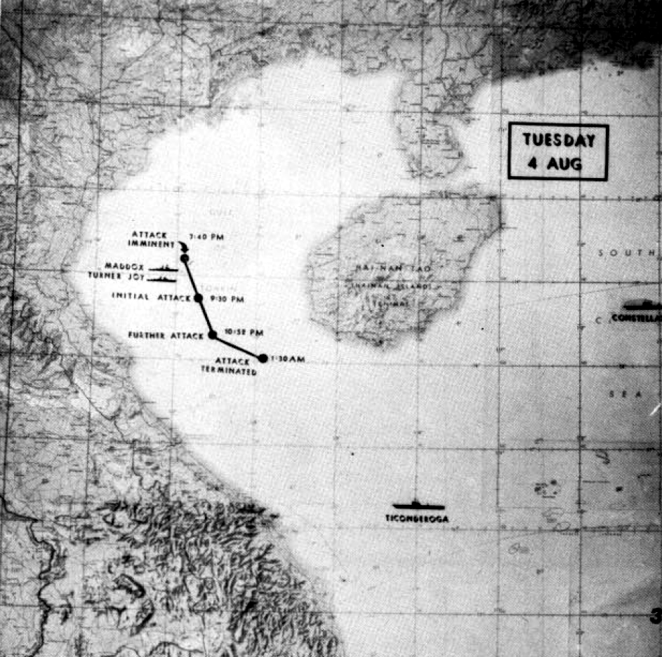 Tonkin Gulf incident map of alleged attacks on 4 August 1964
