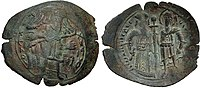 Obverse and reverse of a dark-coloured coin; the former with an image of a four-winged angel, the latter with two standing figures, the left one dressed in regalia and the right one as a warrior saint, holding a sword between them