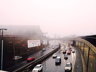 Rain and fog in July 2016 Traffic in the midst of the rain and fog.jpg