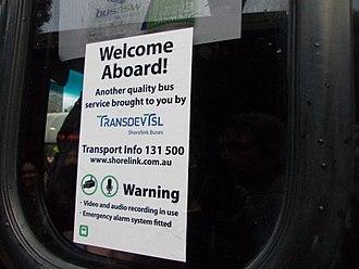 TransdevTSL - A bus sticker on a Shorelink bus showing the remnants of the TransdevTSL name in September 2014