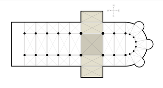 Transept - Cathedral ground plan. The shaded area is the transept; darker shading represents the crossing.