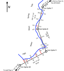 A Diagram Of Survey Markers Running Along A Shoreline.