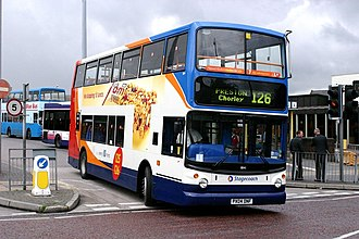 Stagecoach North West - A Dennis Trident 2 bus departing from Bolton bus station on route 126