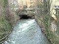 Triebwerk-Kanal Rossneckar Kleinkraftwerk Bäckermühlen-Turbine Abfluss.JPG