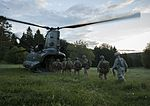 Troops from 3 PARA, 11e Brigade Parachutiste and 82nd Airborne Division board a Chinook Helicopter of 18 Squadron. MOD 45160133.jpg