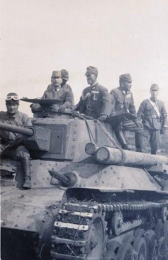 Tsutsumi Fusaki - Tsutsumi Fusaki and his staff in 1945