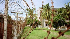 Barbed tape - Short barb razor wire at Tuol Sleng