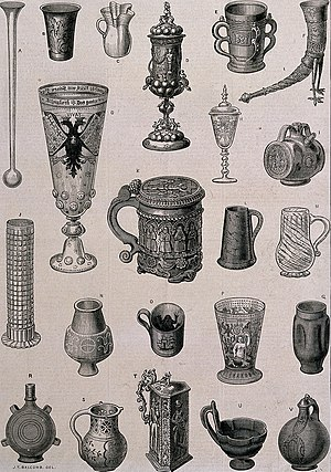 Cup - Wood engraving of 22 ancient drinking vessels,  c. 1873