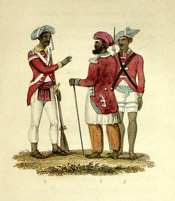 Two sepoy officers; a private sepoy, 1820s - Indian Rebellion of 1857