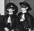 Two children dressed as Zorro, (1968), Carnival party, Copparo (Ferrara), Italy.jpg