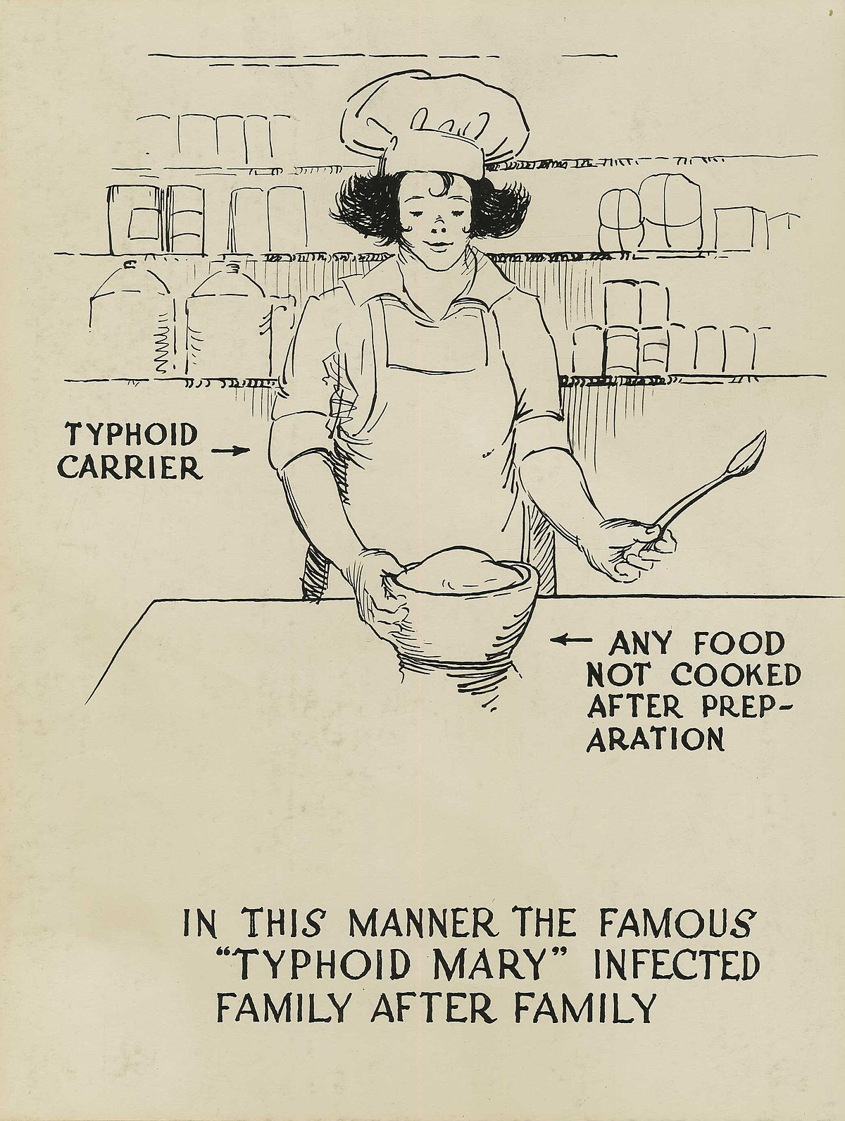 Typhoid carrier polluting food - a poster.jpg