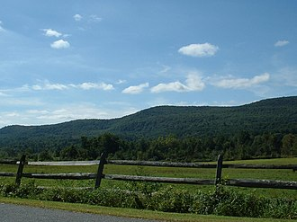 Tyringham, Massachusetts - The hills to the south of Tyringham, as seen from Main Road