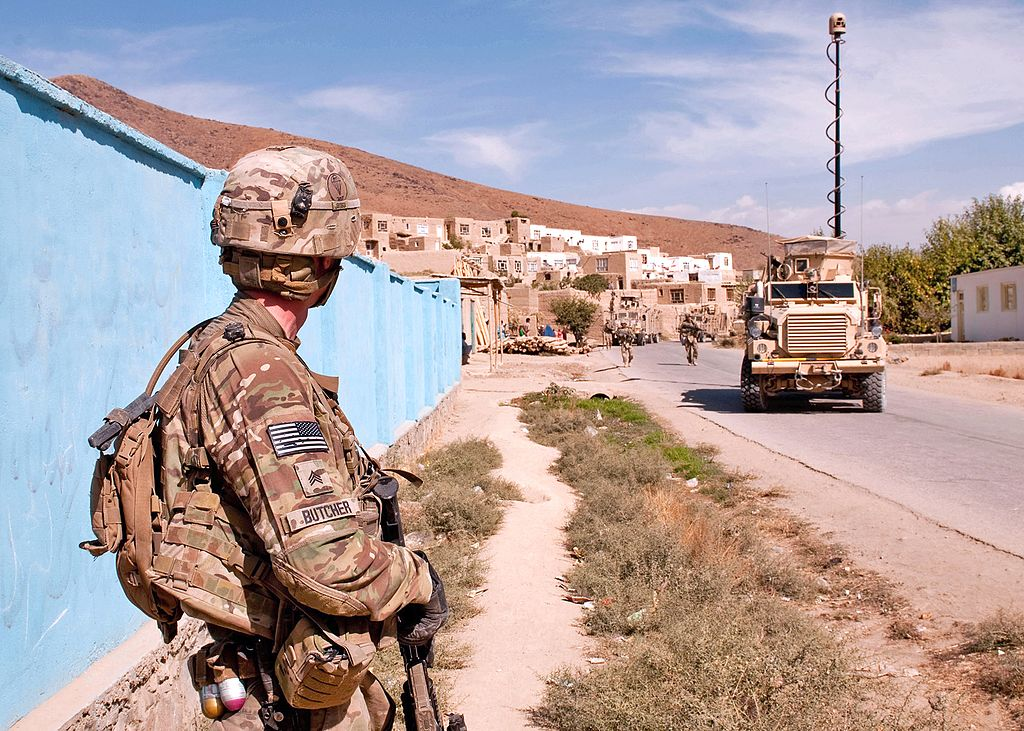 fileus army combat engineer conducts dismounted patrol  logar province afghanistan  oct