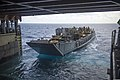 U.S. Navy Landing Craft Utility 1681 departs the well deck of the amphibious dock landing ship USS Comstock (LSD 45) in the Pacific Ocean Aug. 26, 2014 140826-N-CU914-018.jpg