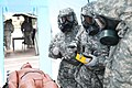 U.S. Soldiers of 379th Chemical Company, U.S. Army Reserves, practice decontaminating a plastic doll during Red Dragon, a biohazard decontamination exercise at Northwest Community Hospital in Chicago, Ill 110610-A-QJ487-008.jpg