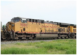 """GE AC6000CW - Union Pacific Railroad 7391, an example of the 106 """"Convertibles"""" built for Union Pacific Railroad with the 7FDL engine"""