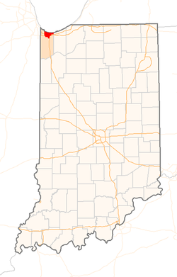 Location in the state of Indiana, USA