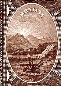 Montana State arması Ulusal Banknot Serisi 1882BB ters