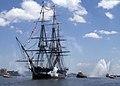 USS Constitution fires a 21-gun salute. (9218501898).jpg