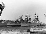 USS Iowa (BB-61), USS Wisconsin (BB-64) and USS Shangri-La (CVS-38) laid up in 1978.jpg