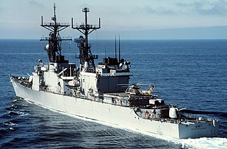 USS Oldendorf - Oldendorf underway c.1984.