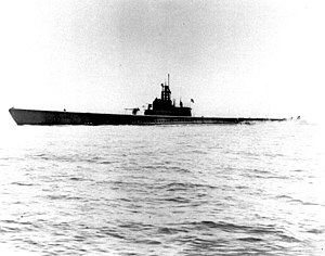 USS Sculpin (SS-191) off San Francisco, California, on 1 May 1943, following an overhaul.