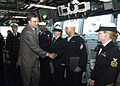 US Navy 031216-N-2716P-151 The President of Montenegro, Filip Vujanovic, congratulates Yeoman 3rd Class Paul Ortiz from Atlanta, Ga.jpg