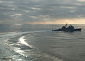 US Navy 040203-N-1082Z-002 The guided missile cruiser USS Vella Gulf (CG 72) maneuvers after a Refueling At Sea (RAS).jpg