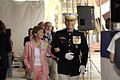 US Navy 060819-N-3642E-021 Ship's sponsor Silk B Hagee, center wife of U.S. Marine Corps Commandant, Gen. Michael Hagee, right walk to the stage prior to the Christening of Pre Commissioning Unit (PCU) Makin Island (LHD 8).jpg